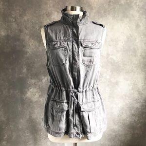 Max Jeans Gray Utility Drawstring Vest Tencel L